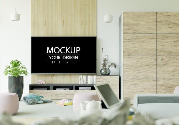 Tv in woonkamer mockup