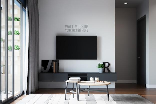Tv-kamer muur mockup