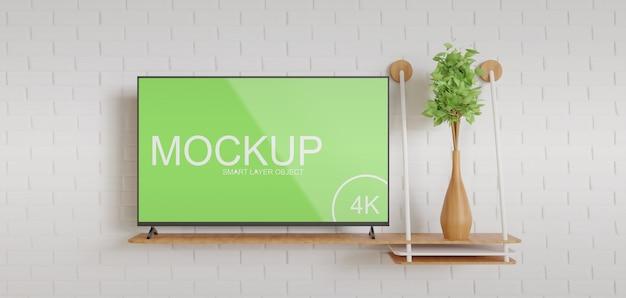 Tv-mockup op het vooraanzicht van de houten wandtafel