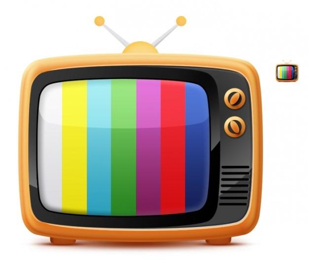 Tv retro con líneas de colores.