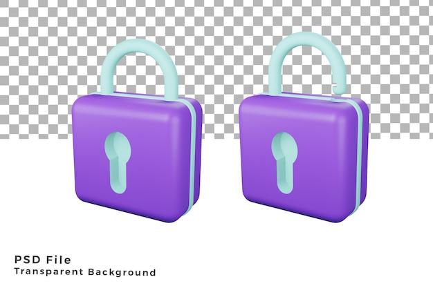 Twee 3d hangslot pictogram illustratie hoge kwaliteit render