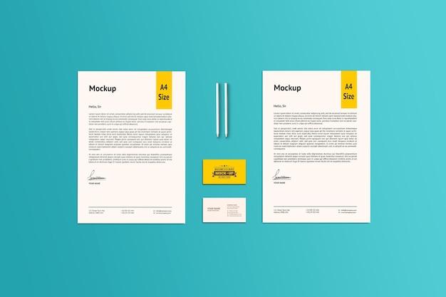 Twee a4-papier en visitekaartjesmodel