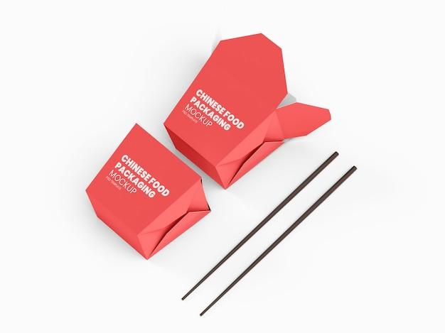 Twee chinese voedselverpakkingsdozen mockup