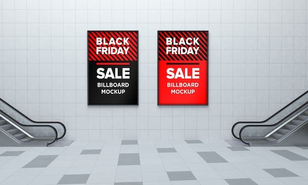 Twee display sign mockup in winkelcentrum met black friday sale banner