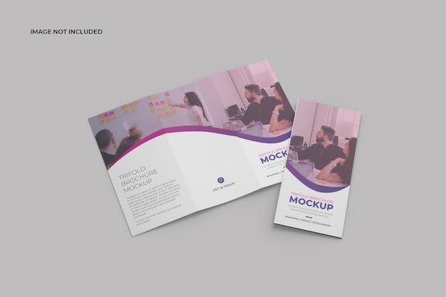 Twee driebladige brochure mockup