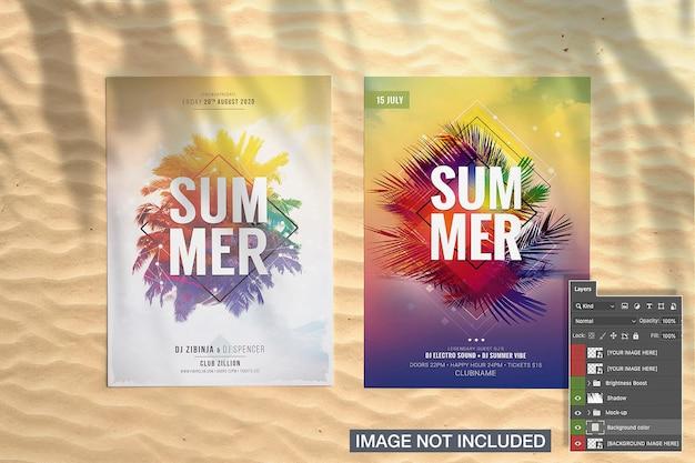 Twee flyer met palm schaduw mockup
