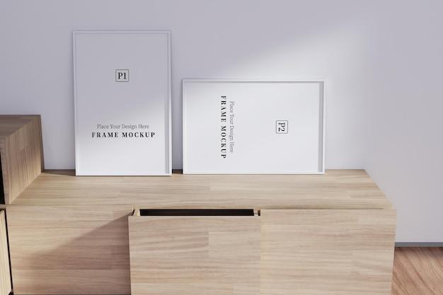 Twee frame mockup met schaduw overlay in de kamer