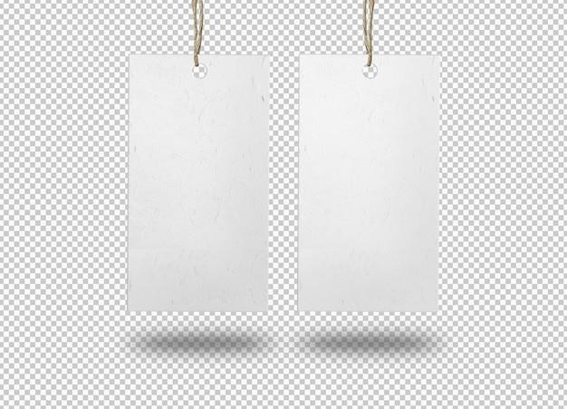 Twee geïsoleerde witte papieren etiketten of prijskaartje