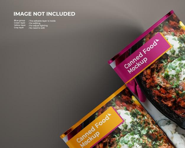 Twee ingeblikt voedselmodel, bovenaanzicht