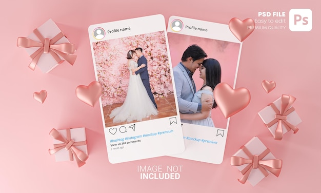Twee instagram post mockup-sjabloon valentine wedding love heart shape en gift box flying