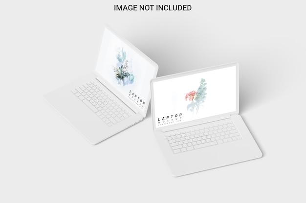 Twee klei laptop mockup vooraanzicht geïsoleerd
