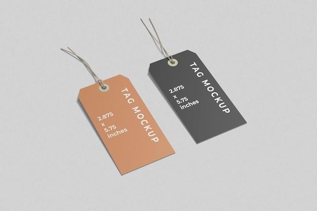 Twee labeltag-mockups hoge hoekweergave