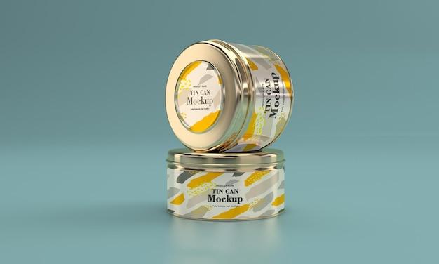 Twee metalen etenswaren verpakking mockup ontwerp