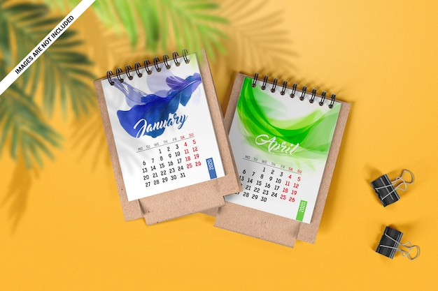 Twee mini bureaukalenders bovenaanzicht mockup