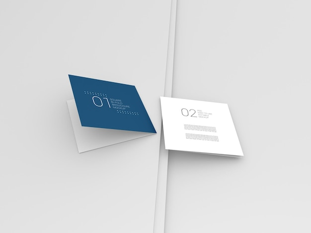 Twee minimale vierkante bi-fold brochure mockup
