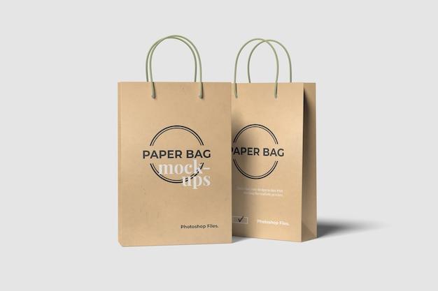 Twee mockups voor boodschappentassen Premium Psd