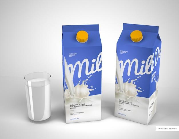 Twee mockups voor melkverpakkingen met glas