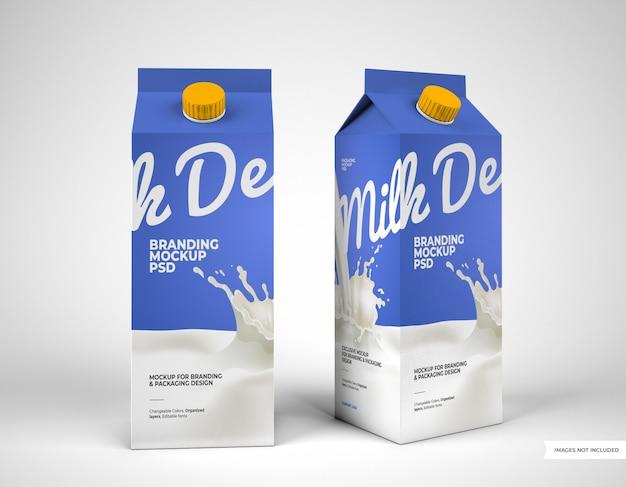 Twee mockups voor melkverpakkingen