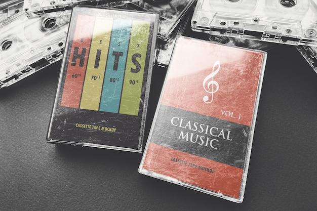 Twee oude cassette dozen mockup