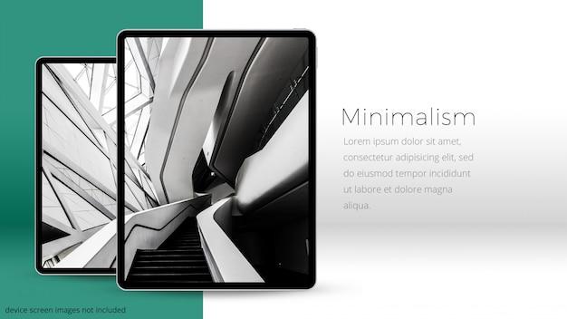 Twee pixel perfecte ipad pro ia een minimale ruimte, uhd mockup