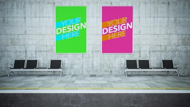 Twee poster mock-up op metrostation