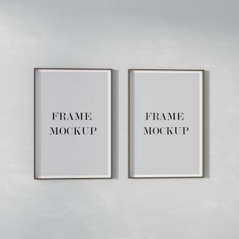 Twee posterframes mockup aan de muur