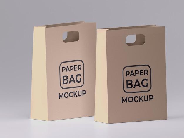 Twee premium kwaliteit papieren boodschappentas mockup ontwerp