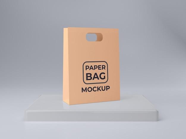 Twee premium kwaliteit papieren zakmodellen met podium