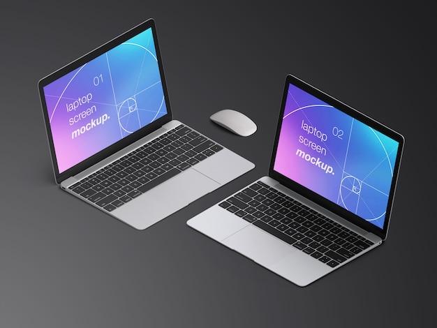 Twee realistische isometrische macbook laptop schermen mockupsjabloon met muis