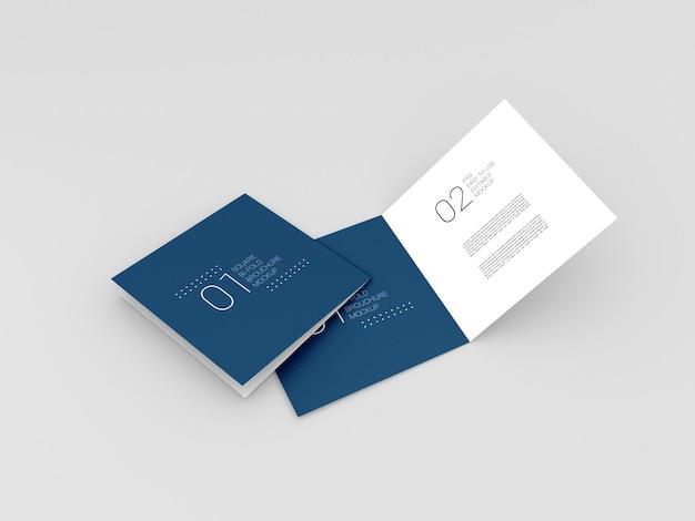 Twee realistische vierkante bi-fold brochure mockup