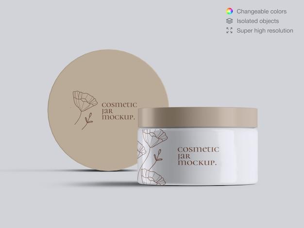 Twee realistische vooraanzicht plastic cosmetische gezichtscrème potten mockup sjabloon
