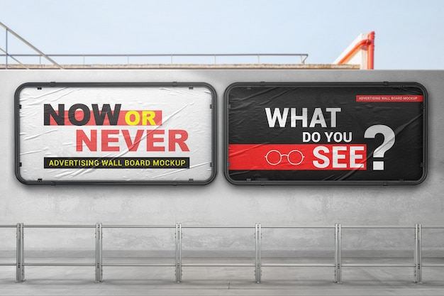 Twee reclamewandborden mockup