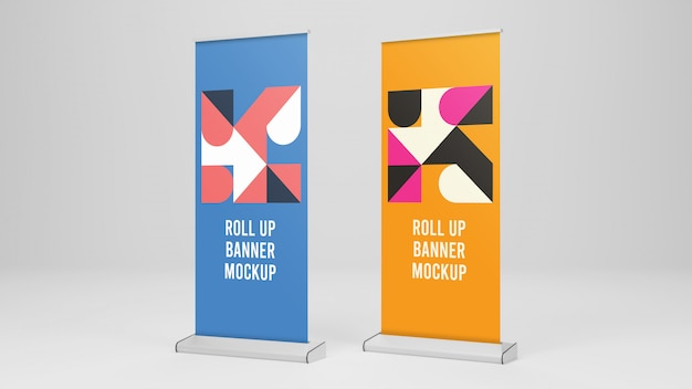 Twee roll-up banner mockup