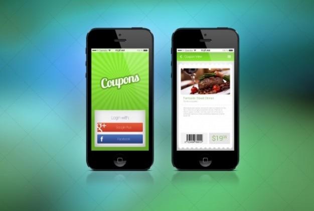 Twee schermen voor coupon app