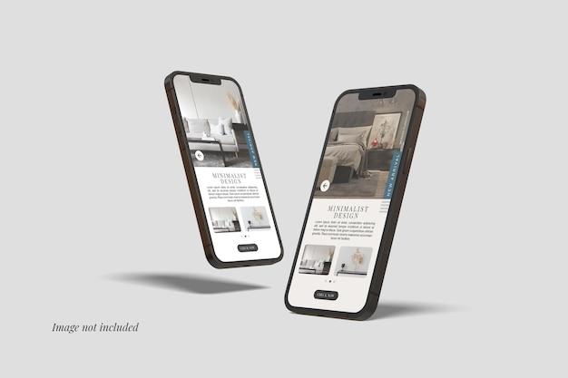 Twee smartphone 12 max pro-mockups