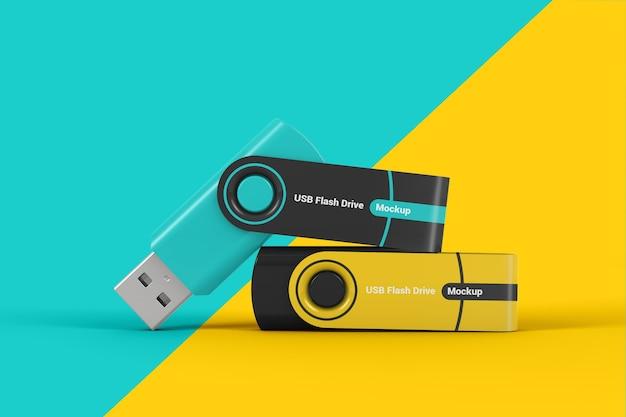 Twee usb flash drive sticks mockup