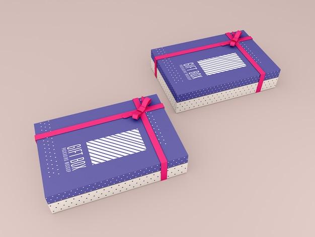 Twee versierde geschenkdoos mockup