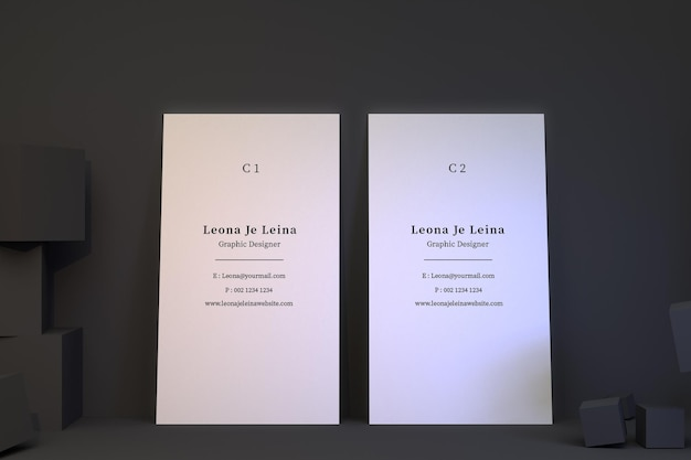 Twee verticale visitekaartjes mockup met kubus