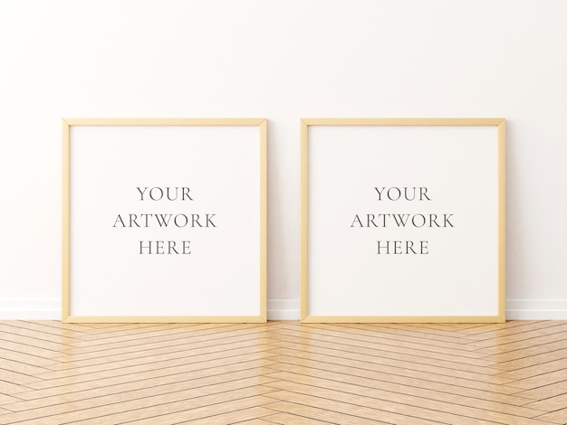 Twee vierkante houten frame mockup op de houten vloer. 3d-rendering.