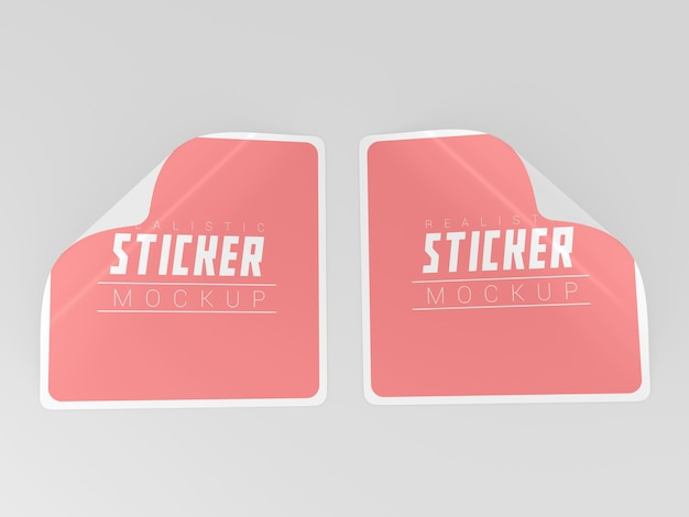 Twee vierkante stickers mockup