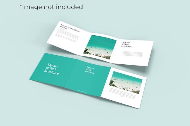 Twee vierkante tweevoudige brochure mockup linkerhoekweergave