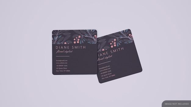 Twee vierkante visitekaartjes mockup