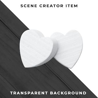 Twee wit hartenspeelgoed dat met het knippen van weg wordt geïsoleerd.