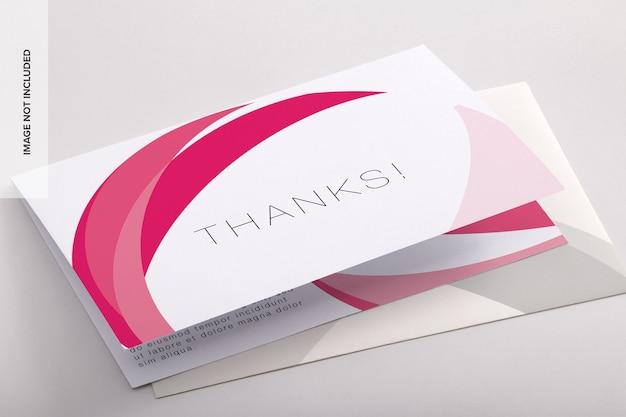 Tweevoudig bedankkaart psd-mockup