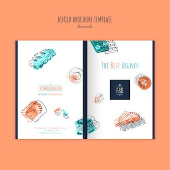 Tweevoudig brochuremalplaatje voor brunchrestaurant