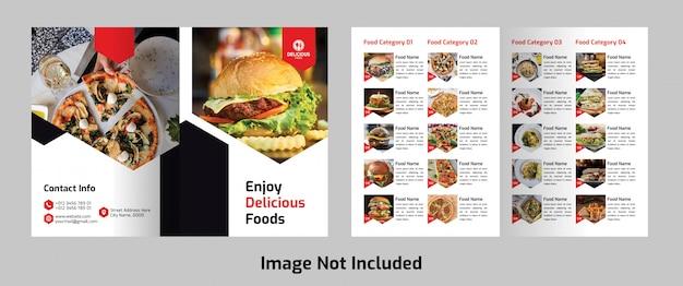 Tweevoudig voedsel menu brochure