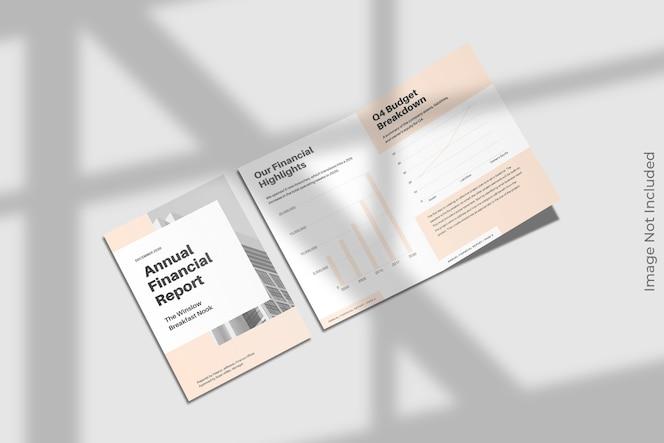 Tweevoudige brochure mockup met schaduw