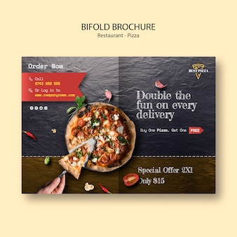 Tweevoudige brochure voor pizzarestaurant