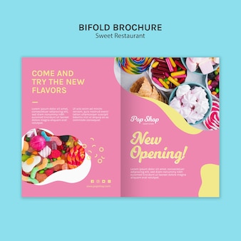 Tweevoudige brochure voor pop candy shop design