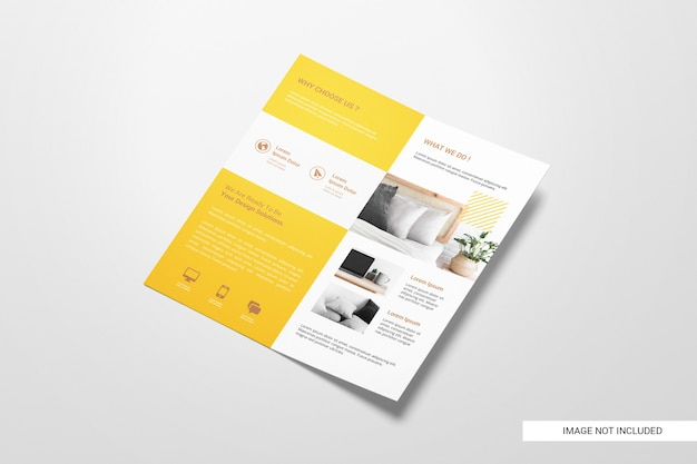 Tweevoudige flyer brochure mockup